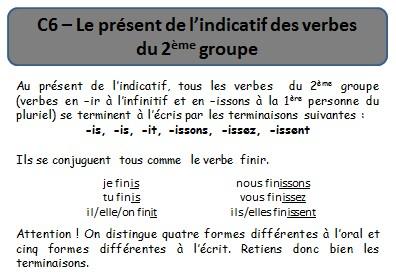 Ecole Des 3 Merlettes C6 Le Present Des Verbes Du 2eme Groupe