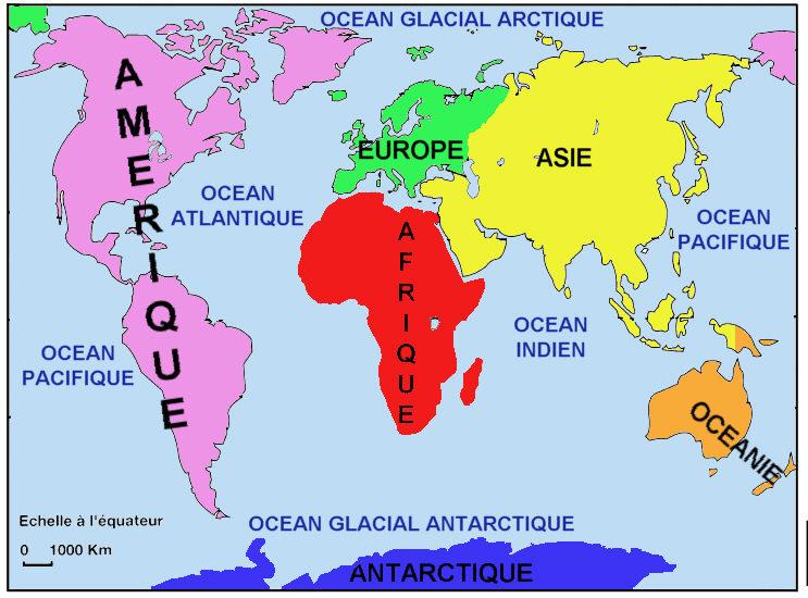 Ecole des 3 merlettes oc ans et continents for Planisphere enfant